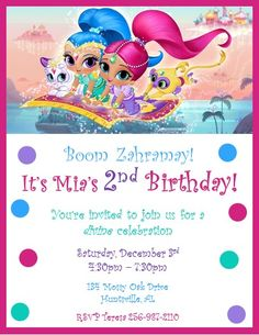 Nickelodeon Shimmer and Shine Invitations ~ Style #1