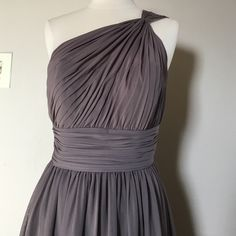 .  Fabulous  Dress by WTOO size 6 WTOO gorgeous dress,color Taupe,One shoulder,shirred bodice,ruched midriff,above the knee length skirt,fabrics:crystal chiffon.Worn once, after dry cleaned,no any sign of wearing WTOO Dresses