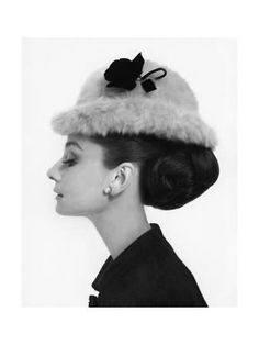 Vogue - August 1964 - Audrey Hepburn in Fur Hat Photographic Print by Cecil Beaton at Art.com