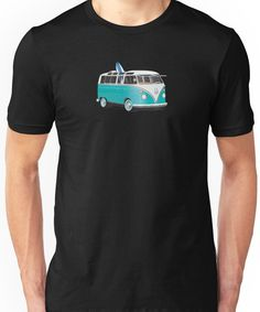Hippie Split VW Bus Teal & Surfboard Peace Unisex T-Shirt