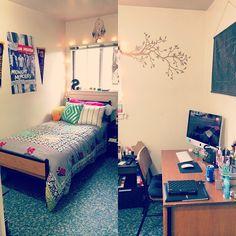 my dorm room at saint michael's college! #dorm #dormroom #smcvt #vermont #college #dormdiy #urbanoutfitters #deskorganization #bedroom #onedirection #dreamcatcher