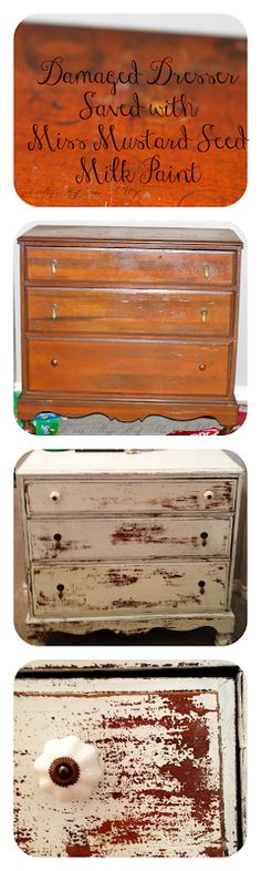LOVE the red color underneith the old white!   Damaged Dresser saved with Miss Mustard Seed Milk Paint
