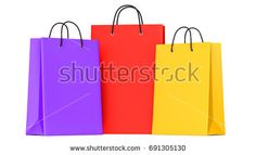Shopping bags purple, red, yellow. 3d llustration, 3D render, isolated on white background