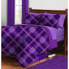 Purple Plaid Complete Bed in a Bag Bedding Set- Paris picked this out for her room. She loves purple Plaid Bedding, Purple Bedding, Purple Bedrooms, Magenta, Shades Of Purple, Teal, Purple Home, All Things Purple, Purple Stuff