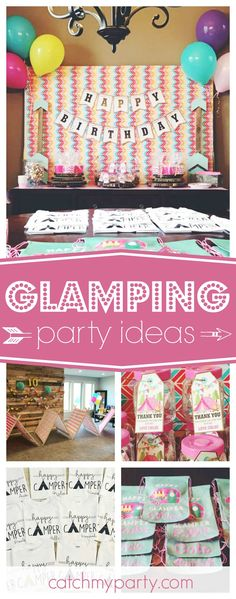 Camp in style with an awesome Glamping birthday party like this one!! The party favors are so cute!! See more party ideas and share yours at CatchMyParty.com