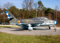 An F-84 Thunderstreak from the Belgium Air Force serves as a gate guard.