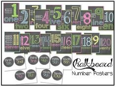 Chalkboard Number Posters {1-20} and Ordinal Number Set