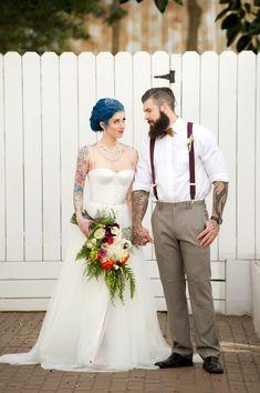 Industrial wedding inspiration with a colorful palette. Ballroom Wedding Dresses, Best Wedding Dresses, Wedding Styles, Wedding Themes, Wedding Gowns, Wedding Decorations, Wedding Ideas, Punk Wedding, Wedding Shoot