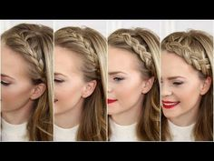 Four Headband Braids - YouTube