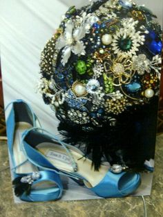 Broach bouquet and sassy shoes.
