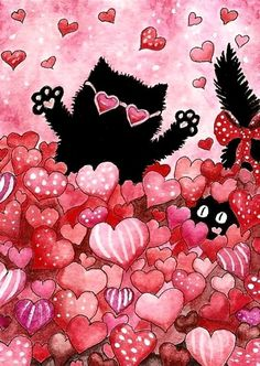 """Cats in Love"" par AmyLyn Bihrle I Love Cats, Crazy Cats, Black Cat Art, Black Cats, Dachshund, Image Chat, Gatos Cats, Cat Valentine, All About Cats"