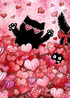 Valentine Sweet Heart CaT ArT Peek Boo by DreamCatchingStudio, $7.99