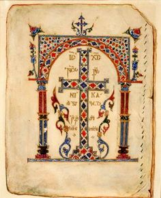 Georgian Miniature from Svaneti. Byzantine Icons, Byzantine Art, Illuminated Letters, Illuminated Manuscript, Corpus Christi, Book In Latin, Occult Symbols, The Cross Of Christ, Book Of Kells