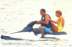 Princess Diana rides with Dodi Al Fayed on a jet ski off the coast of the South of France, 17th July 1997.