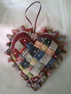 Woven Wool Heart Pillow Valentine Handstitched by PeabuttonsMom, $10.00