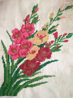 Red Pink Gladiolus, antique cross-stitch, Ukrainian ancient embroidered picture, handmade, homespun canvas, folk art, rustic tapestry, decor Small Cross Stitch, Cross Stitch Flowers, Cross Stitch Charts, Cross Stitch Embroidery, Cross Stitch Patterns, Christmas Cross, Embroidery Techniques, Red And Pink, Counted Cross Stitches