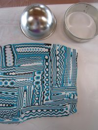 Photo tutorial for using a small bowl, cutter and patterned sheet to create domed pendants.