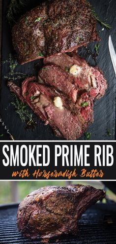Smoked Prime Rib With Horseradish Butter - Vindulge - - Slowly smoked and then seared with a high heat, this Prime Rib is tender, and juicy. Finish with a horseradish compound butter as an extra flavor element. Grilled Prime Rib, Slow Roasted Prime Rib, Smoked Prime Rib Roast, Smoked Pork, Bbq Prime Rib, Smoked Meat Recipes, Traeger Recipes, Roast Recipes, Grilling Recipes