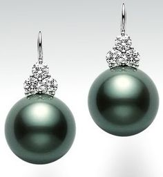 Japan's Mikimoto's pearls are the most expensive and beautiful. Gorgeous depth of luster and perfection in shape. These are sooooo very beautiful! Black Pearl Earrings, Pearl Jewelry, Vintage Jewelry, Fine Jewelry, Stud Earrings, Silver Earrings, Skull Jewelry, Western Jewelry, Hippie Jewelry