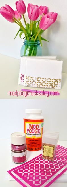 Learn how to make notecards with Mod Podge and glitter. Adhesive stencils help you get the fun design on the front!