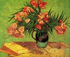 Painting by Vincent Van Gogh - Still Life Vase with Oleanders and Books
