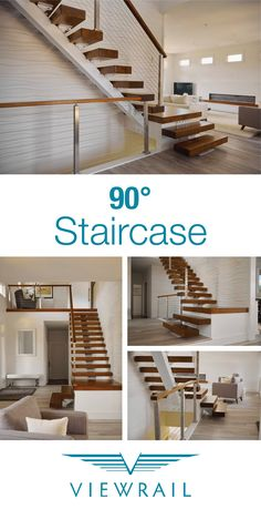 90 Degree floating staircases are the ideal solution for small spaces that need a modern touch. Their compact design makes them easy to install, without sacrificing any of the style of larger floating staircase configurations. Plus, they're easily adaptable for spaces that feature existing structures. Follow the link to learn more! #design #interiordesign #DIY #renovation #Viewrail #ViewrailFLIGHT #FloatingStairs #FloatingStaircase #stairs #staircase #architecture #cablerailing #railing