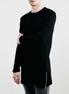 BLACK LONGLINE ZIP HEM RAGLAN LONG SLEEVE T-SHIRT