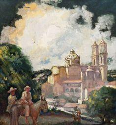 "Unknown Artist ""Overlooking Taxco"" 13x14 Gouache"