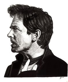 Past, Present and Future (Past). New better quality digital print image of Michael J Fox in fine-line pen.