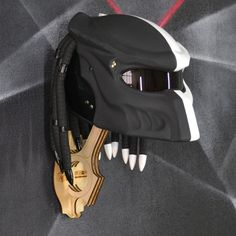 Matt black and white custom predator helmet with real laser. Painted Raptor u-pol! Motorcycle Wedding, Bobber Motorcycle, Motorcycles, Tron Bike, Gladiator Helmet, Predator Helmet, Motorcycle Trailer, Open Face Helmets, Custom Paint