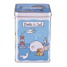 DERRIERE LA PORTE – Boite à sel Baleine en métal Derrière la porte –: Boite ludique et fonctionnelle en métal pour garder votre sel au sec…