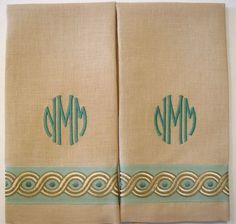 "Sand Belgian linen Guest Towel with Colfax & Fowler ""Mina"" trim and simple monogram."