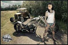 Femke Fatale by Pixeleye Interactive // Dirk Behlau Chicks On Bikes, Lowrider Bike, Cool Motorcycles, Harley Davidson Bikes, Biker Girl, Inked Girls, Motor Car, Motorbikes, Antique Cars