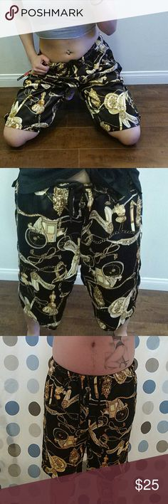 CHARIOT BLACK SHORTS Decorated in silky, gold chariots, Black background,Black drawstring to fit waist, can be worn as unisex. Director's CUT Other