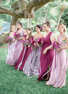 Blush and rose bridesmaid dresses. So Pretty! Love the two colors
