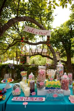 wedding reception candy bar just an idea Candy Bar Party, Candy Table, Candy Buffet, Wedding Sweets, Wedding Cakes, Circus Wedding, Country Fair Wedding, Sweet Buffet, Wedding Inspiration