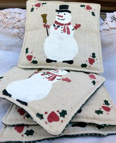 Christmas Coasters, Cloth Christmas Coasters, Set Of Four Coasters, Holiday Themed Coasters