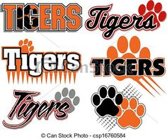 Vector - tigers with paw print designs - stock illustration, royalty free illustrations, stock clip art icon, stock clipart icons, logo, line art, EPS picture, pictures, graphic, graphics, drawing, drawings, vector image, artwork, EPS vector art