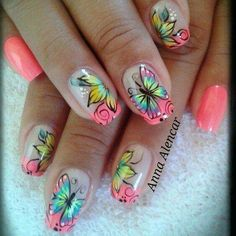 30 Butterfly Nail Art Ideas Easily one of the prettiest nail art designs would be the butterfly nails. They look absolutely stunning and can effectively give the nails a wonderful look! The best thing about this is that it isn't. Nail Art Kawaii, Cute Nail Art, Cute Nails, Pretty Nails, Butterfly Nail Designs, Butterfly Nail Art, Pink Butterfly, Butterflies, Butterfly Wings