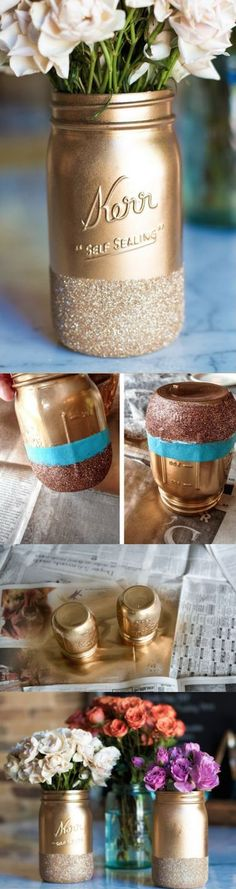 Super simple DIY glitter dipped mason jars, perfect for adding a little more sparkle during the holidays