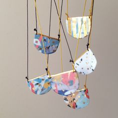 Porcelain half moon necklaces by Ruby Pilven