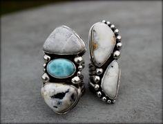 RESERVED White Buffalo Statement Ring, Big White Buffalo Ring, Larimar Jewelry, Three Stone Ring, Boho Chic, Handmade Jewelry, Size 8