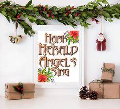 Hark the Herald Christmas Digital art print by PixieTreasuresDesign on Etsy #christmas #wallart #printable