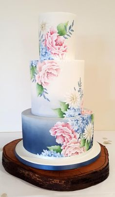 wedding cakes ombre Hand painted wedding cake with 3 tiers. Airbrushed and hand painted ombre in blue grey. hand painted floral design over all 3 tiers created using cocoa butter paint including roses, ox-eye daisies and hydrangeas. Fondant Wedding Cakes, Buttercream Wedding Cake, Fondant Cakes, Fondant Bow, Fondant Tutorial, Fondant Figures, Bolo Floral, Floral Cake, Painted Wedding Cake