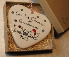 Our 1st Christmas as Grandparents Heart by aphroditescanvas, $22.00