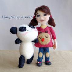 Samantha doll and her panda Needle felted by FunFeltByWinnie