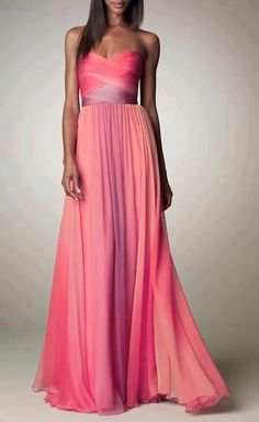 Love this pink ombre dress:) inspiration for prom