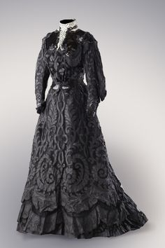 Cut Silk Half Mourning Dress with Sequin Appliques, ca. early 1900s