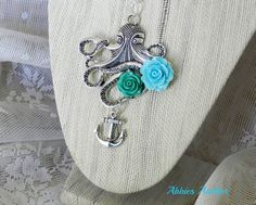 Antiqued Silver Steampunk Octopus Necklace with by AbbiesAnchor, $17.00