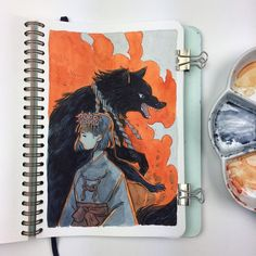 """Heikala (@heikala) """"Inugami Only a few more pages left in this sketchbook! #ink #pentelbrushpen #watercolour #inugami"""""""